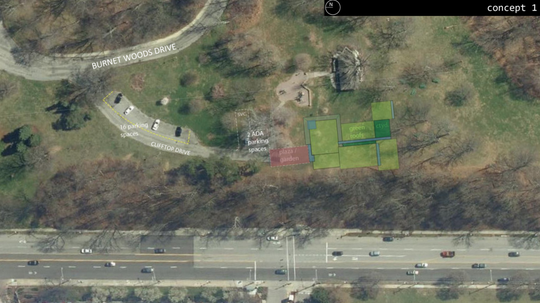 A site plan for Clifton Cultural Arts Center facility near Burnet Woods Drive.