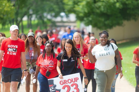 Members of APSU's largest freshman class take a tour of campus in August.