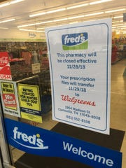 Fred's employees at the state Highway 149 store aren't elaborating about the change beyond what's stated on this printed notice.