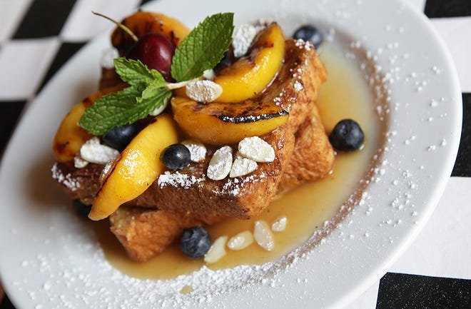 French toast with grilled peaches and mascarpone cheese at Stella G's.