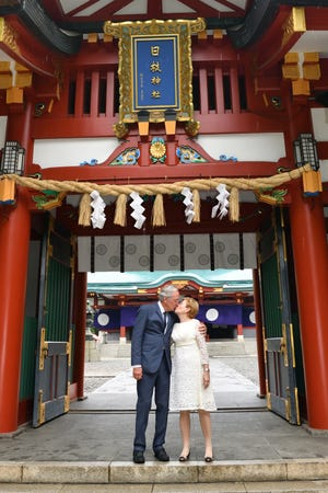 Tom and Ruth Harkin celebrated their 50th wedding anniversary on July 6, 2018, at the Hie Shinto Shrine in Tokyo where they met in 1967.  In Japan the Hie Shrine is known for symbolizing long marriages.