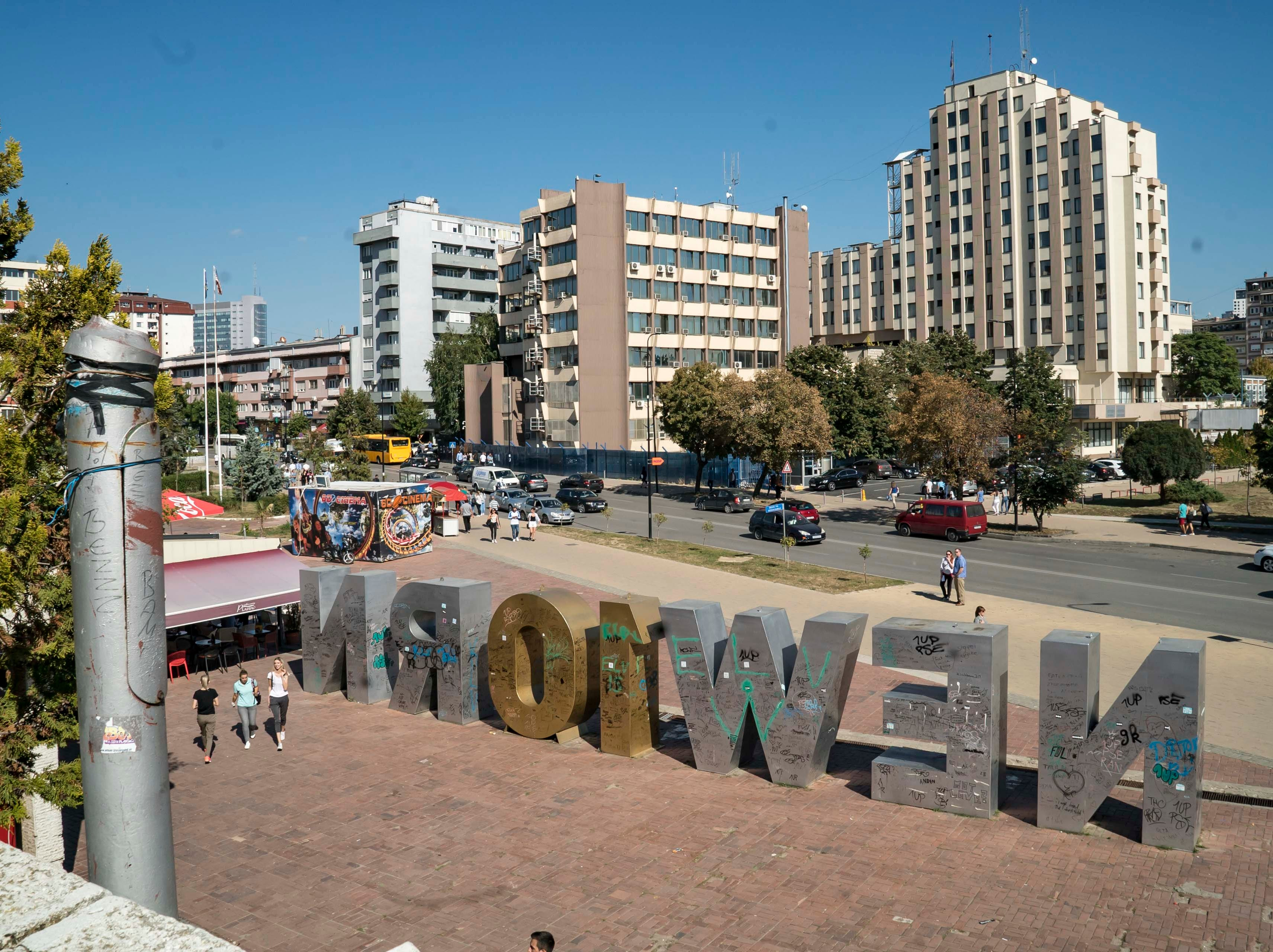 Newborn sculpture in Pristina, Kosovo, Monday Sept. 17, 2018. This year, the O and R have been replaced with a 1 and 0 to commemorate the 10th anniversary of Kosovo's independence.