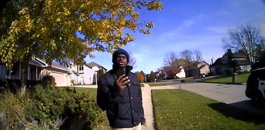 An image from a West Des Moines police officer's video shows Keilon Hill, who says he was racially profiled last month.