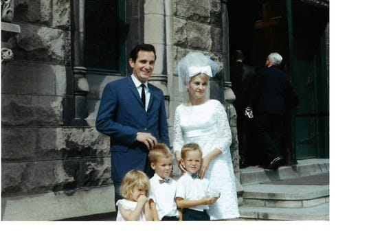 Tom and Ruth Harkin on their wedding day, July 6, 1968.