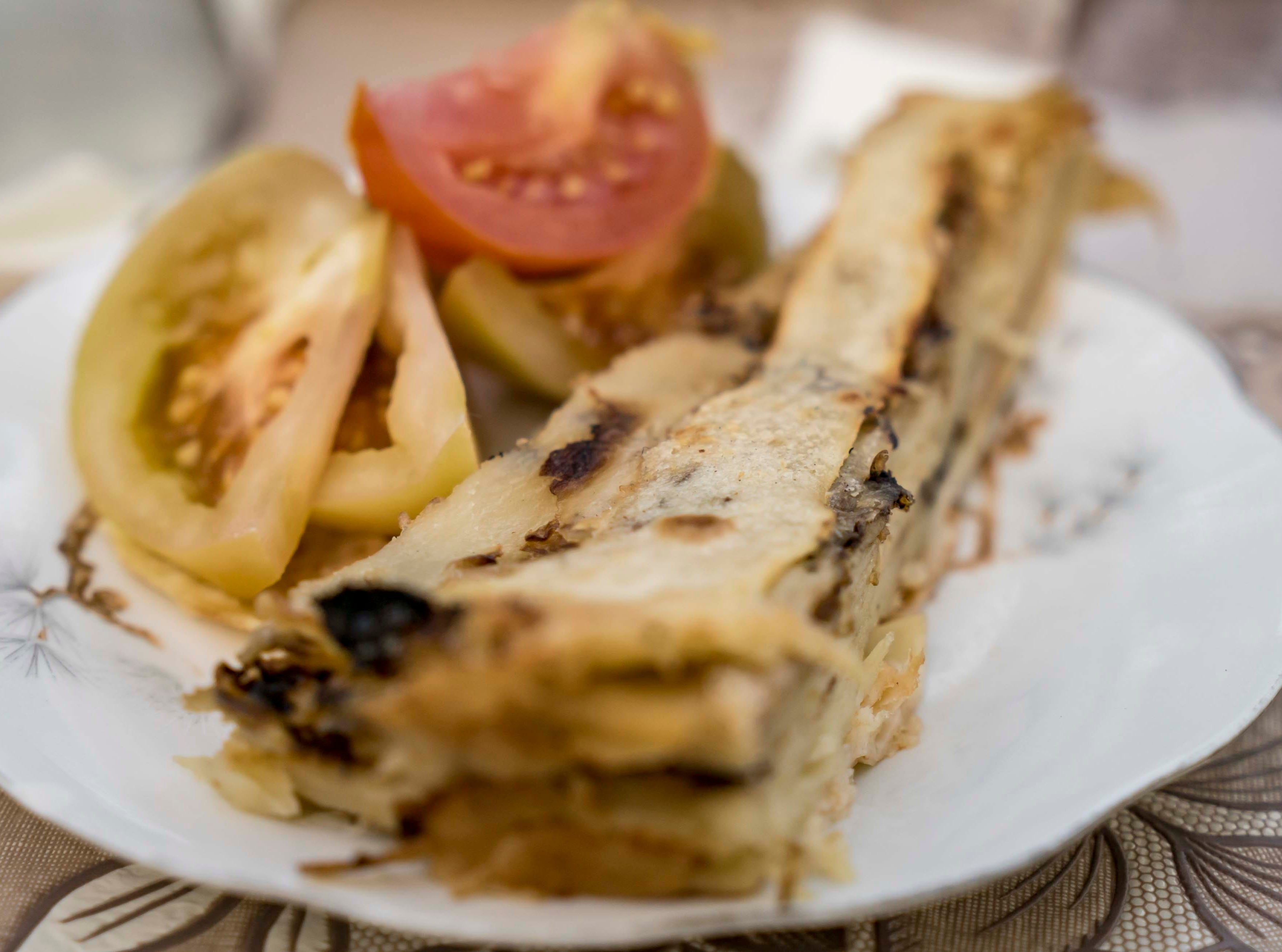 In Vushtrri we were served flia, a Kosovo Albanian dish, during our visit to Kosovo in Sept. 2018. It consists of multiple crepe-like layers brushed with cream.