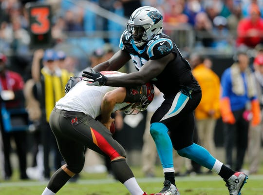 The Carolina Panthers' Mario Addison has 7.5 sacks this season, and faces a Lions offensive line that has allowed 16 in the past two games.