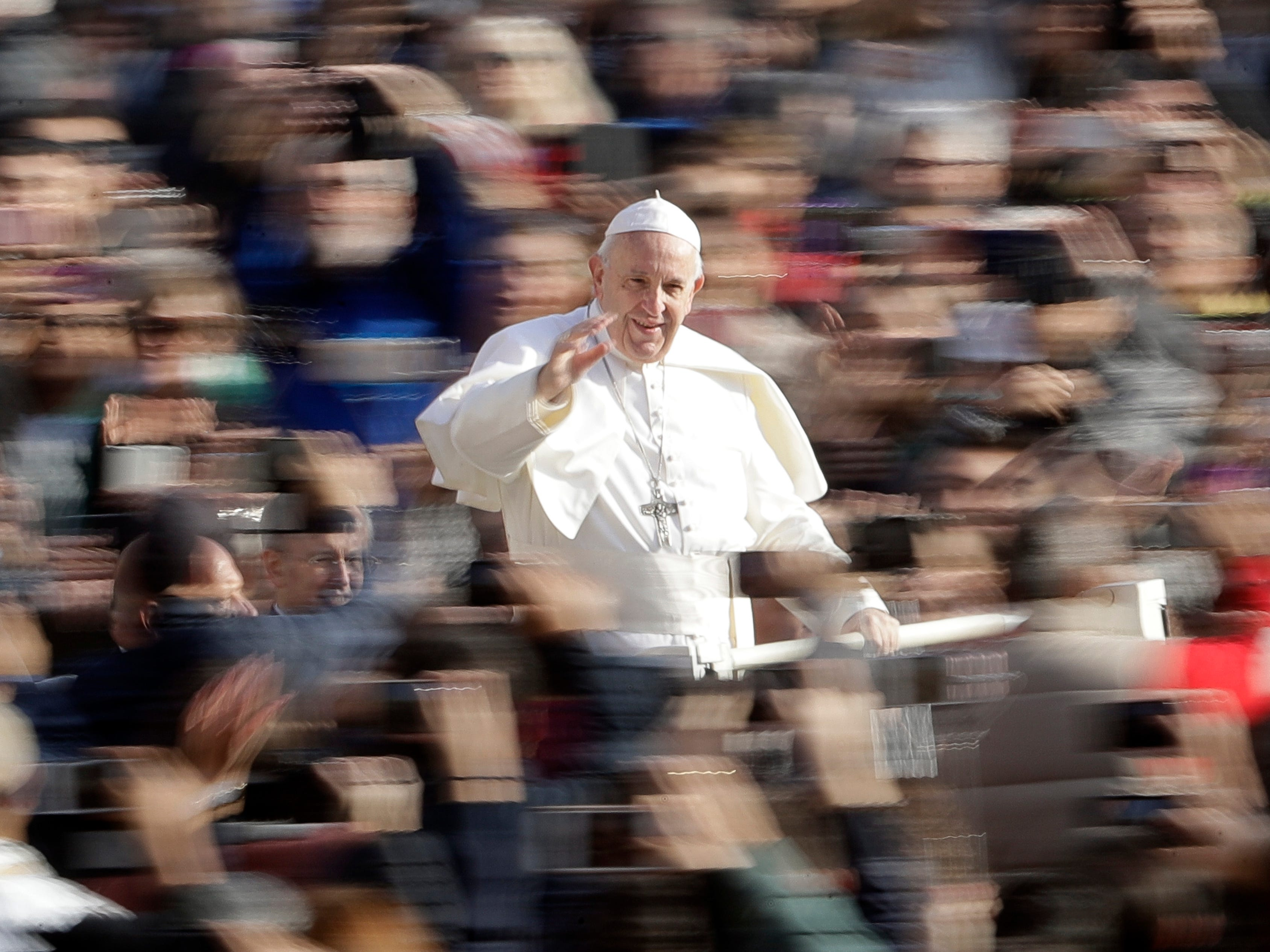 Pope Francis arrives for his weekly general audience, in St. Peter's Square, at the Vatican, Wednesday, Nov. 14, 2018.