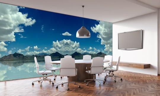 Brenda Rosenberg's photograph of the Great Salt Lake graces an office.