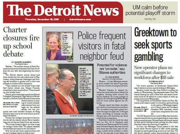 The front page of The Detroit News on Thursday, November 15, 2018.