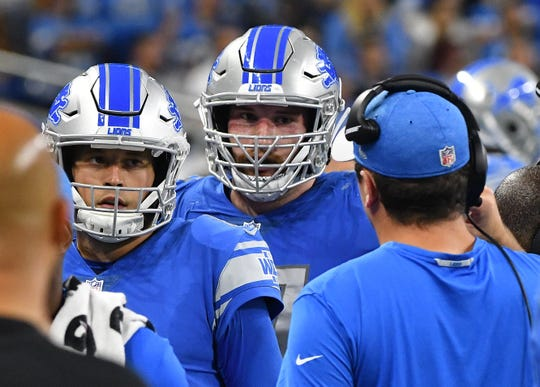The second half of the season is vital for rookies such as guard Frank Ragnow (middle), who are developing in first-year head coach Matt Patricia's new scheme.