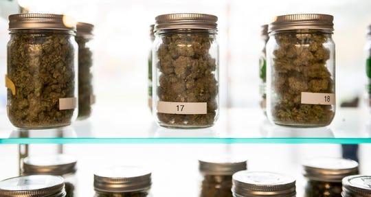 Marijuana for sale inside a medical marijuana dispensary in Michigan, October 24, 2018.