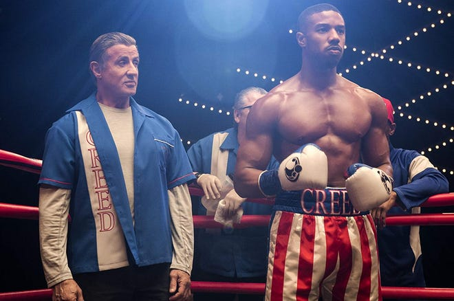 "Sylvester Stallone and Michael B. Jordan in ""Creed II."""