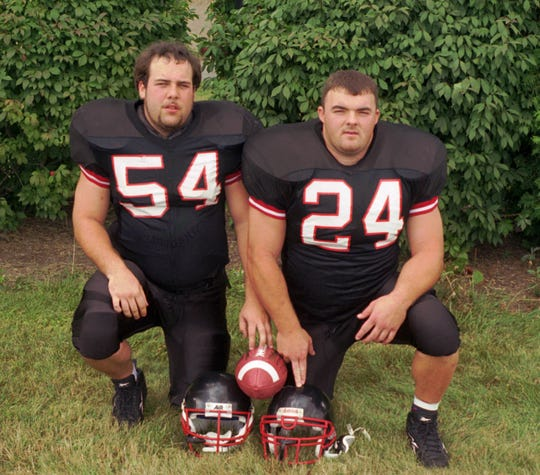 Chemung County Sports Hall of Fame 2018 inductees Brad Polk, left, and John Maio, both Elmira Notre Dame graduates, pose for a photo while playing for Mansfield University in 1998.