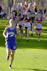 Chemung County Sports Hall of Fame 2018 inductee Alexis Lake Worthy of Horseheads leads the pack en route to winning the girls Section 4 Class A race in 2000.