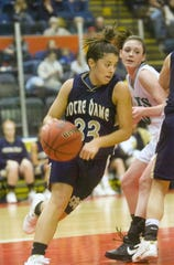 Chemung County Sports Hall of Fame 2018 inductee Mallory Lawes helped Elmira Notre Dame to two state titles in basketball.