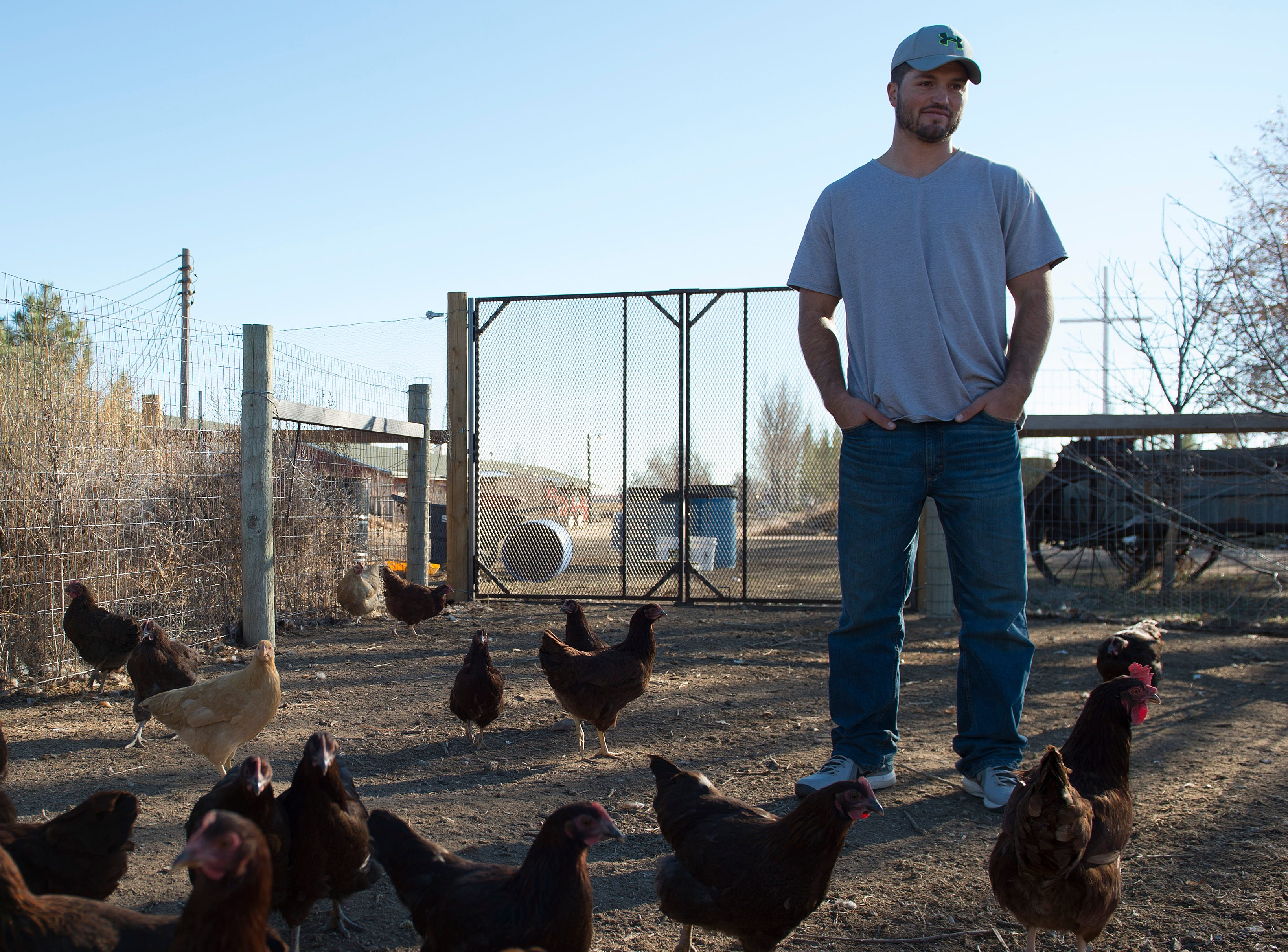 Taylor Reed checks in on the chickens at Harvest Farm in Wellington on Wednesday, November 14, 2018. Reed, from Wiley in southeast Colorado, struggled with addiction for his entire life until this spring when he began living at the rehabilitation facility.