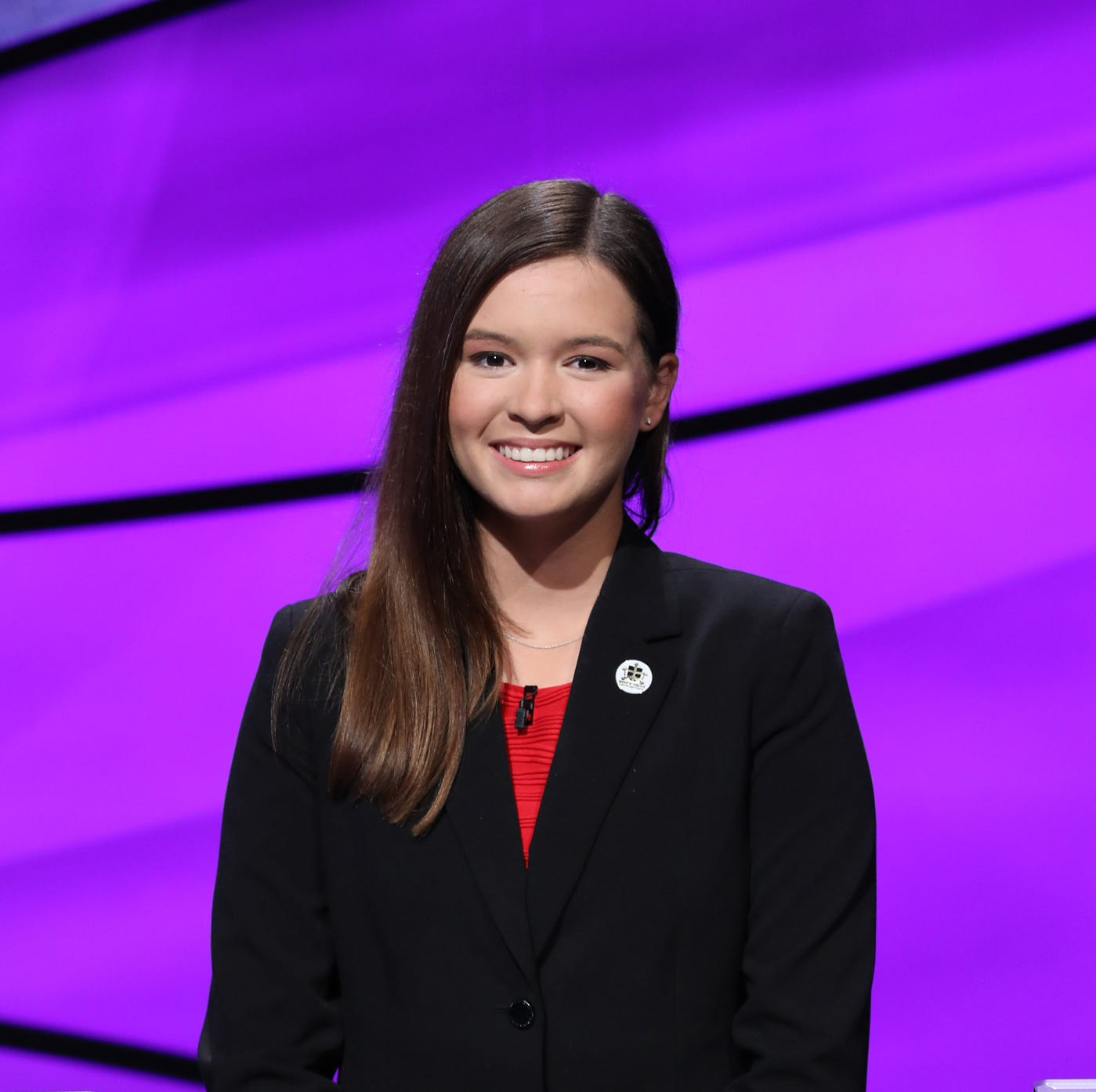 "Bonita Springs teen Claire Sattler on the set of ""Jeopardy!"" during the August 2018 taping of the annual ""Teen Tournament."""