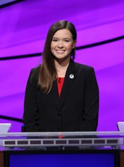 """Bonita Springs teen Claire Sattler on the set of """"Jeopardy!"""" during the August 2018 taping of the annual """"Teen Tournament."""""""