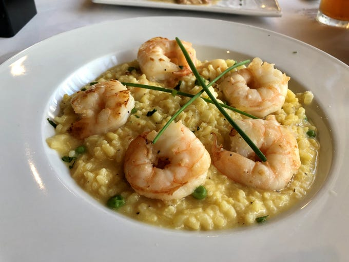 Shrimp in a saffron-tinged risotto. This dish was one of the kitchen's only misses flavor-wise. The shrimp were perfect (and plentiful), but the risotto lacked seasoning.