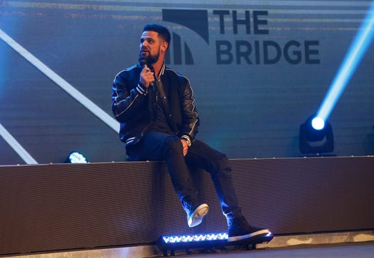 "Pastor Steven Furtick, from Elevation Church in Charlotte, N.C., spoke at Greenville's Relentless Church during the event ""The Bridge - A Conversation on Race, Politics, Culture and the Role of the Church"" Wednesday, Nov. 14, 2018."