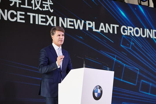BMW Board Chairman Harald Krüger speaks during the October 2018 ceremony for BMW's strategic contract signing and groundbreaking for its new Tiexi plant in Shenyang, China. The occasion also marked the 15th anniversary of the joint venture BMW Brilliance Automotive (BBA) in Shenyang.
