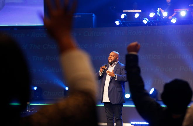 "Pastor John Gray addresses the congregation Nov. 14, 2018, at Relentless Church in Greenville, South Carolina, during an event titled ""The Bridge: A Conversation on Race, Politics, Culture and the Role of the Church."""