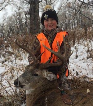 Kale Baumann got this buck near Belt.