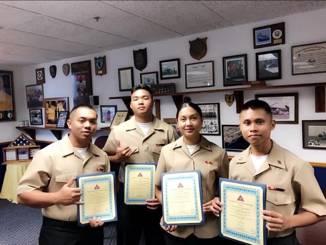 Sons and Daughter of the Marianas: From left: Christopher Flores, Sinajana,  Juan Besid, Saipan, Josephine Duenas, Dededo, and Wilfred Subia, Tinian all graduated Nov. 5 from Aviation Boatswain Mate Fueler A-School in Pensacola Florida.