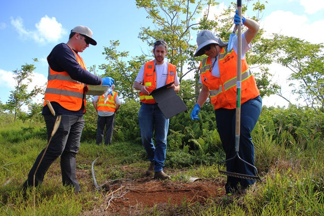 US EPA officials prepare a site for soil sampling