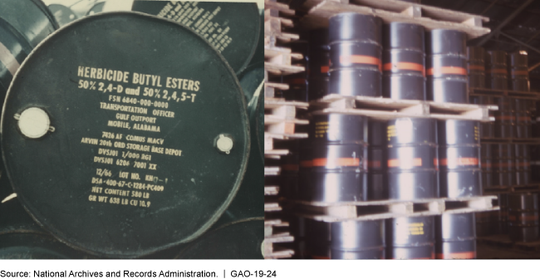 Photos of drums of Agent Orange marked with destination information and an orange band included in a Government Accountability Office report released Nov. 15, 2018.
