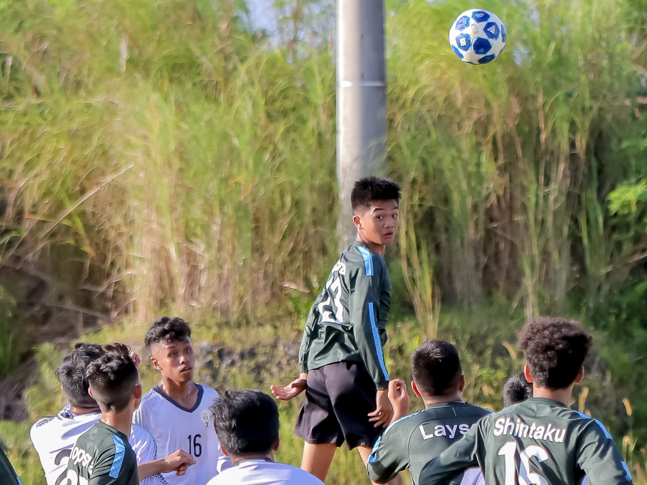Soccer action between Tiyan High School and Southern High School during Independent Interscholastic Athletic Association of Guam game held at Tiyan Field on Nov. 15.