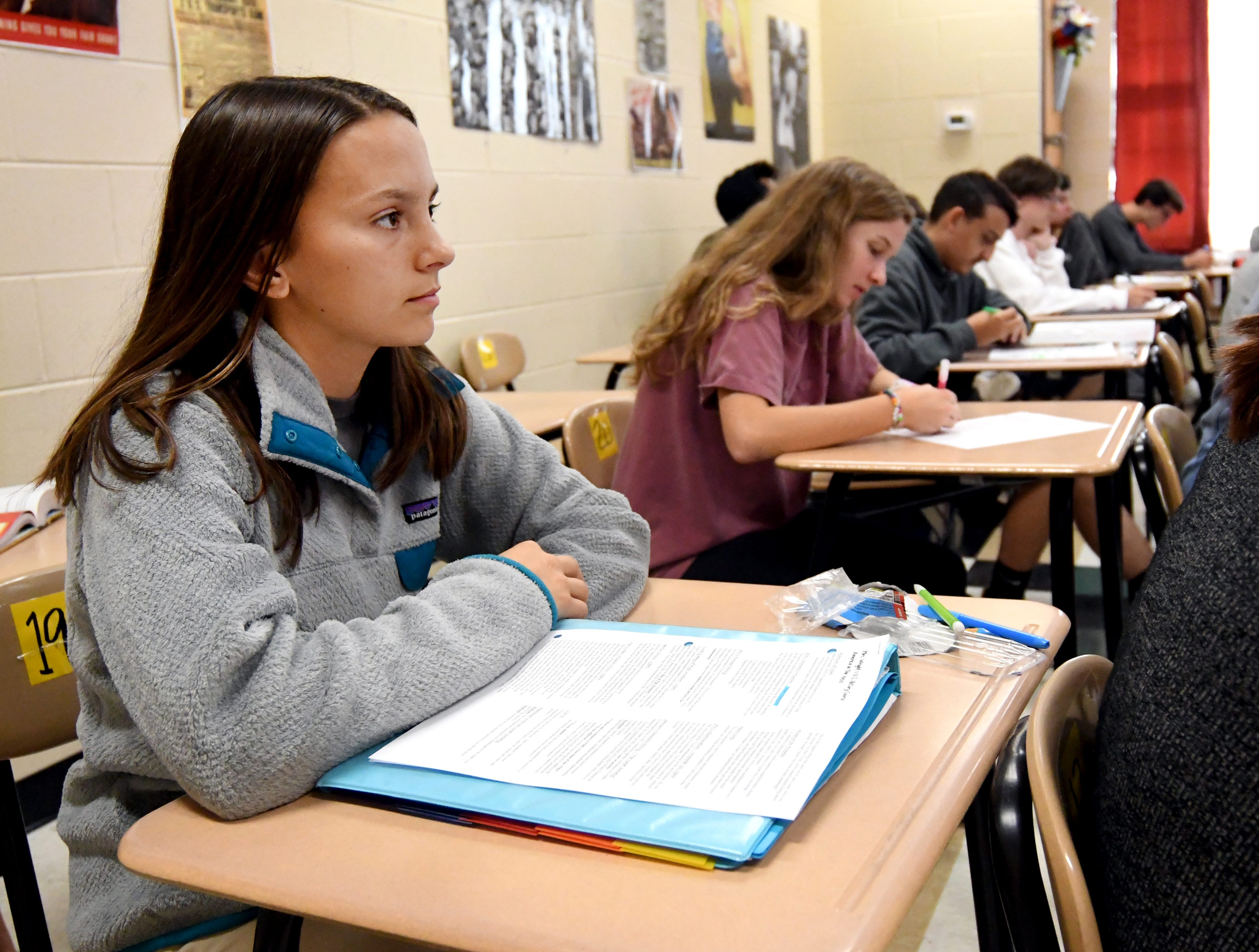 Senior McKenna Jacobs listens during her history class at Oak Grove High School. Oak Grove High School is No. 3 in state in accountability rankings and No. 1 in 6A schools.