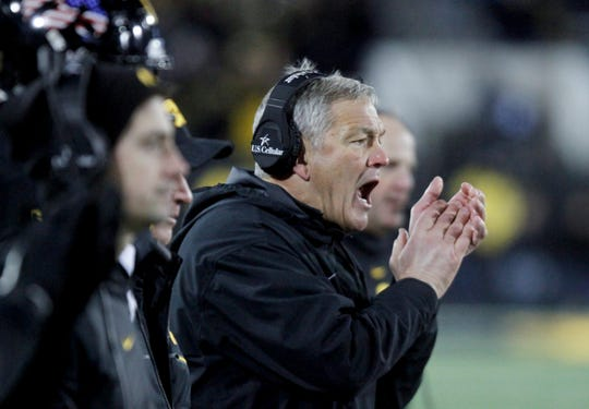 Head coach Kirk Ferentz the Iowa Hawkeyes yells from the sideline during the second half against the Northwestern Wildcats on November 10, 2018 at Kinnick Stadium.