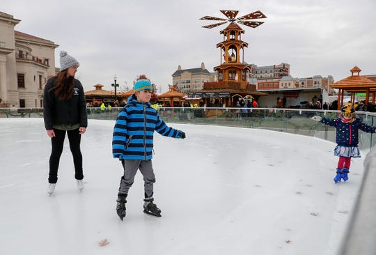 The second annual Christkindlmarkt in Carmel will open this Saturday. Ice rink tester, singers and vendors were putting the on the final touches for the opening on Wednesday, Tuesday, Nov. 14, 2018.