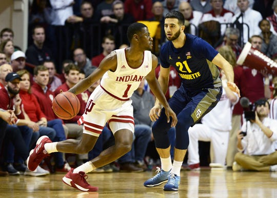 Indiana Hoosiers guard Al Durham (1) dribbles the ball during the game against Marquette at Simon Skjodt Assembly Hall in Bloomington Ind., on Wednesday, Nov. 14, 2018.