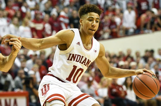 Indiana Hoosiers guard Rob Phinisee (10) dribbles the ball during the game against Marquette at Simon Skjodt Assembly Hall in Bloomington Ind., on Wednesday, Nov. 14, 2018.