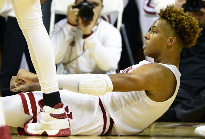 Indiana Hoosiers guard Romeo Langford (0) celebrates after scoring during the game against Marquette at Simon Skjodt Assembly Hall in Bloomington Ind., on Wednesday, Nov. 14, 2018.