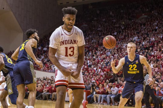 Nov 14, 2018;  Indiana Hoosiers forward Juwan Morgan (13) reacts after a made basket in the first half against the Marquette Golden Eagles at Assembly Hall.