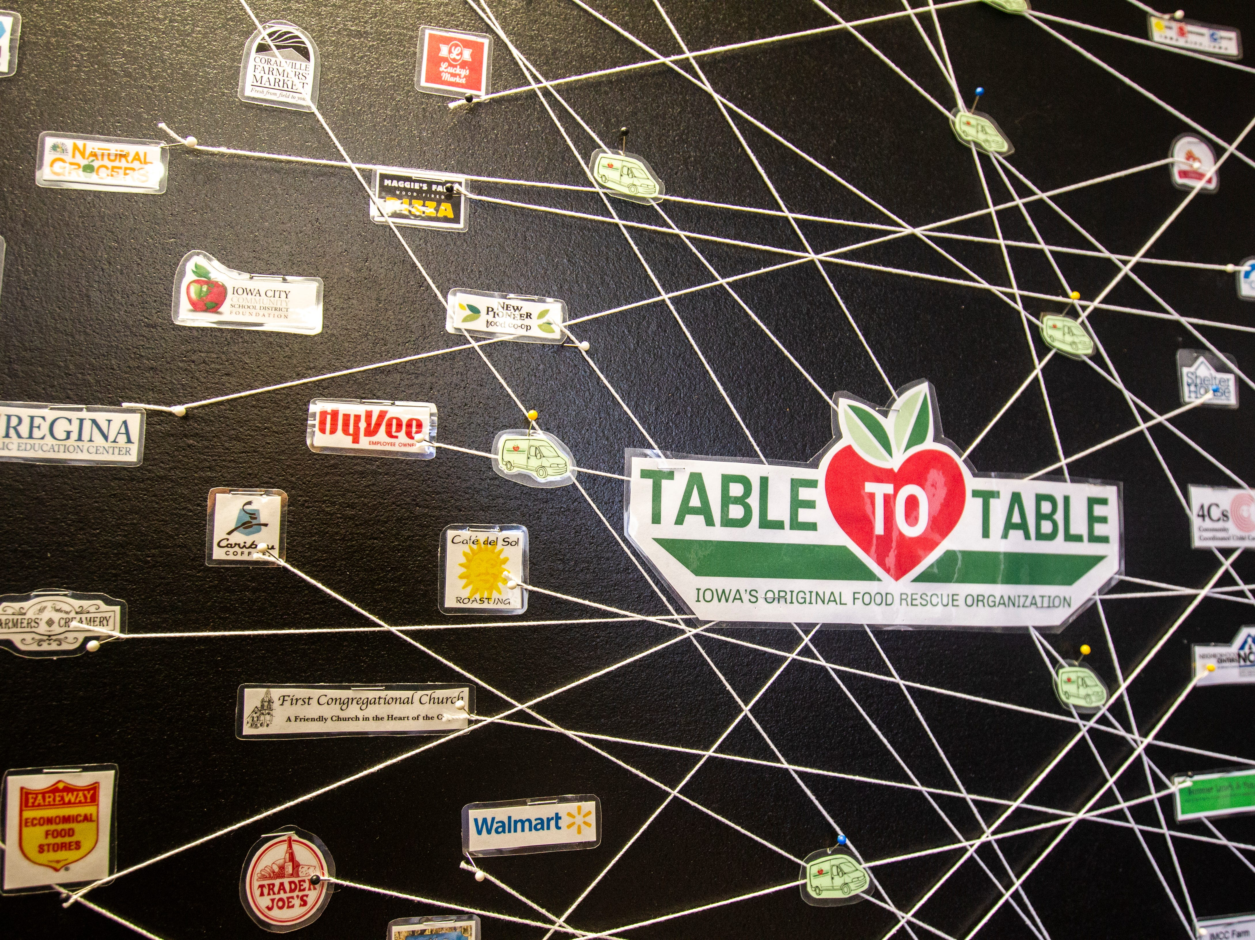 A board shows logos of community partners connected with food recipients pieces of string on Thursday, Nov. 15, 2018, at the Table to Table offices in Iowa City. They currently pick up food from 76 partners and deliver to 50 groups.