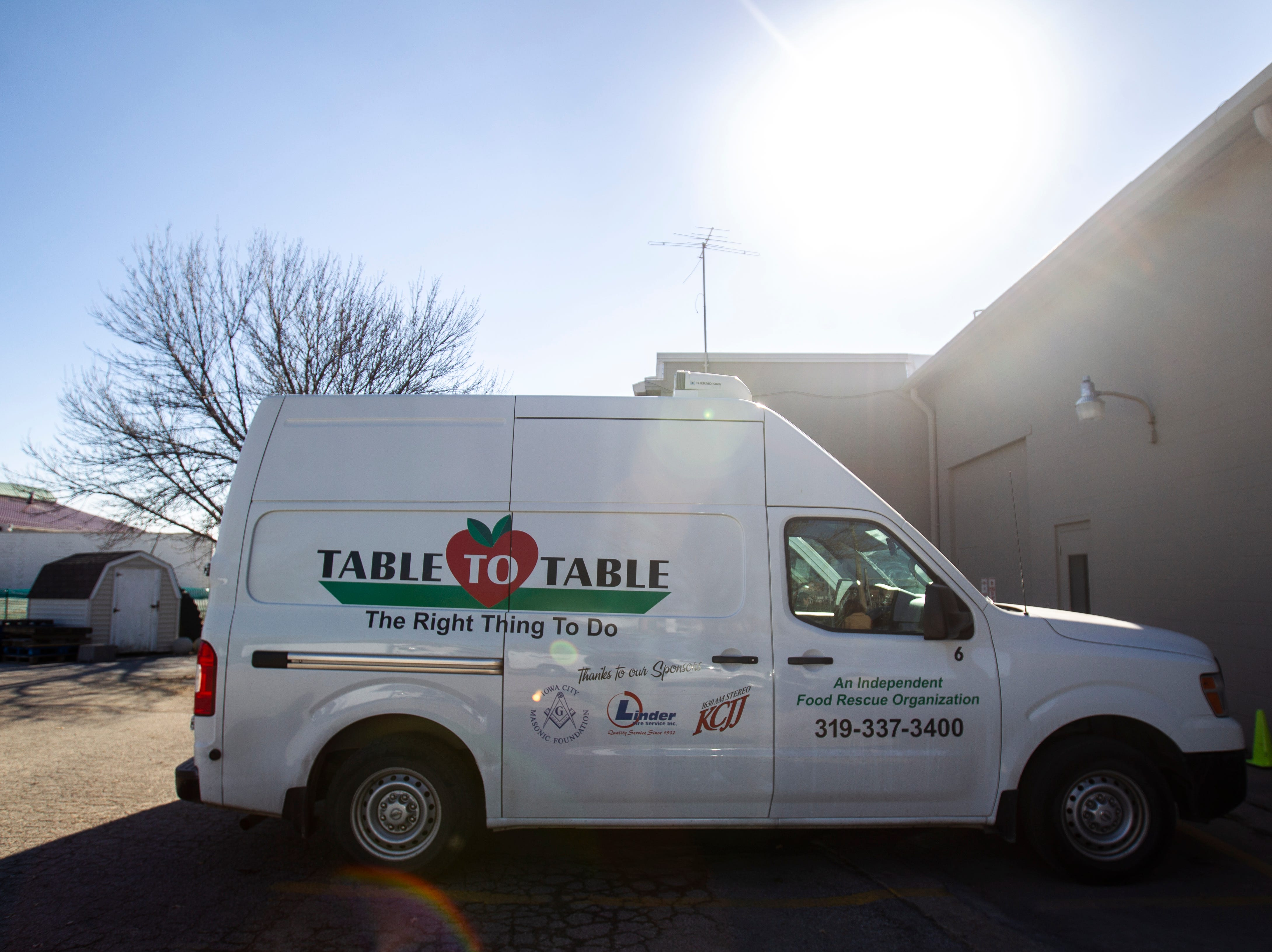 A Table to Table vehicle is seen on Thursday, Nov. 15, 2018, at the Table to Table offices in Iowa City.