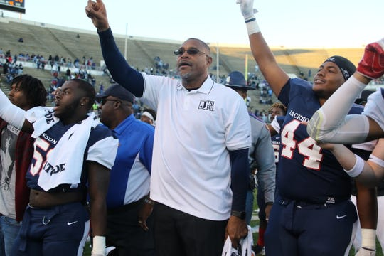 JSU Interim HC John Hendrick sings the alma mater along with the team Saturday, Nov. 3, 2018, after beating conference foe Prairie View A&M 34-28.