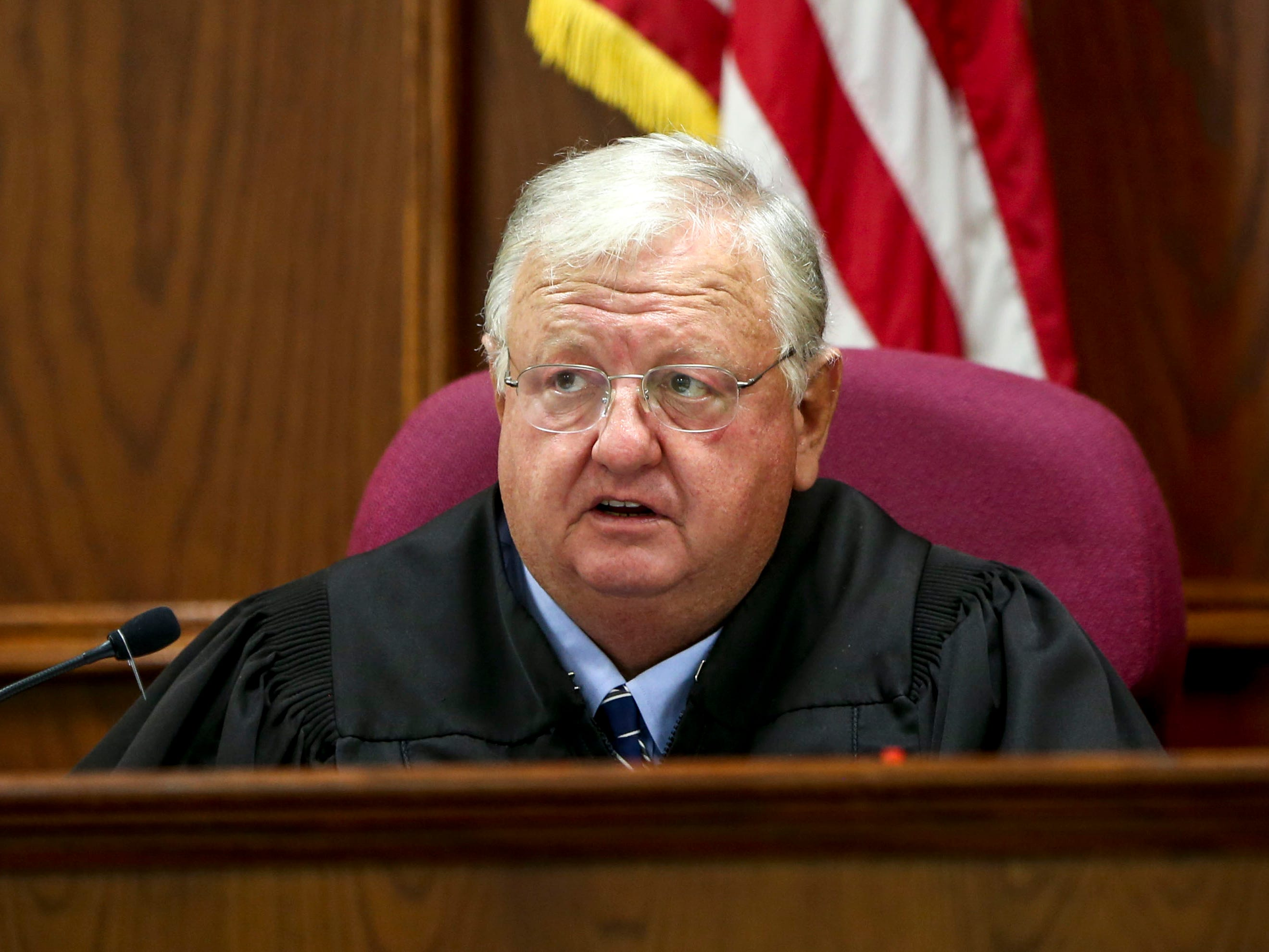 Judge Blake Anderson speaks to attorneys requesting the hearing for Keon Stewart be pushed back at a court appearance for Stewart at Jackson City Court in Jackson, Tenn., on Thursday, Nov. 15, 2018.