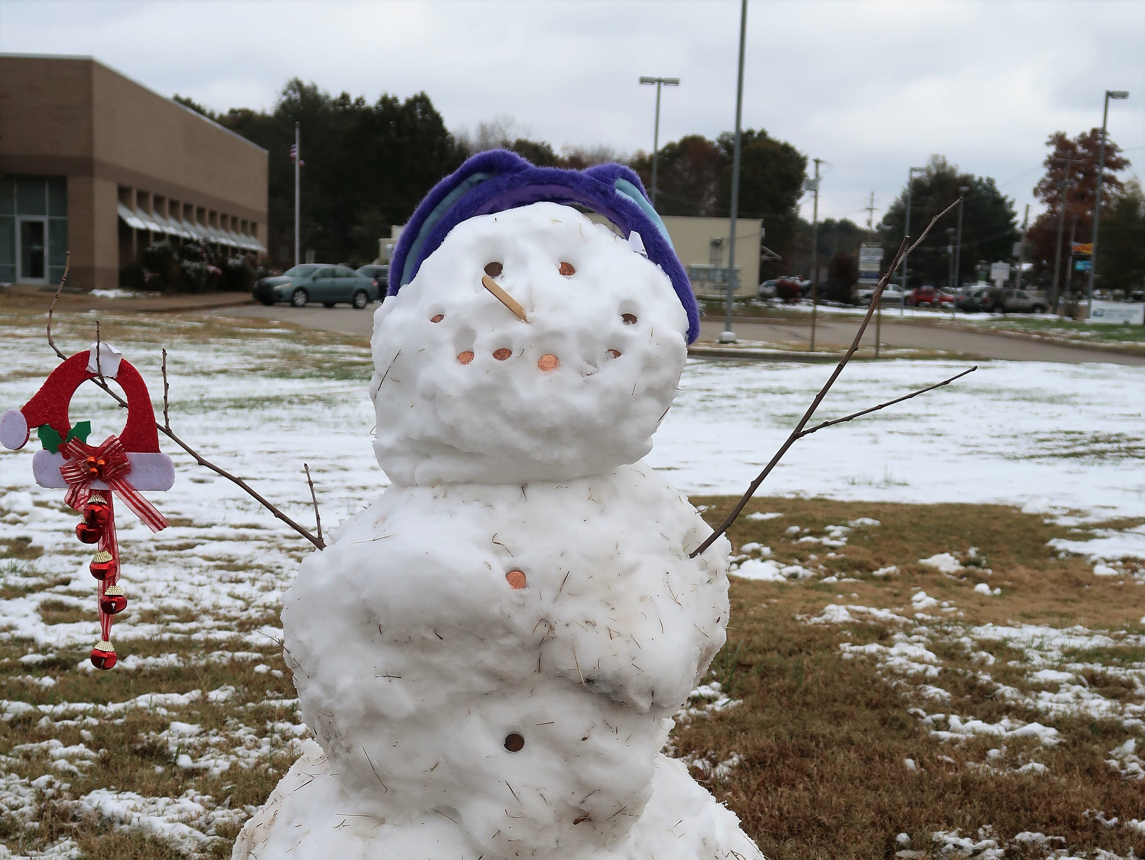 A few snowmen of all sizes could be found around Jackson on Thursday after the unexpected snowfall on Wednesday night, November 14, 2018.