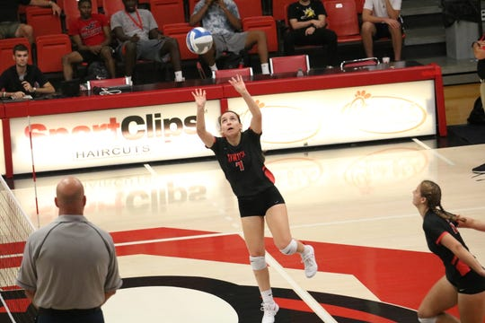 Rebecca Sexton, seen here during a game this past season, has shared her experience of becoming a follower of Jesus after helping at an FCA event with Union volleyball.