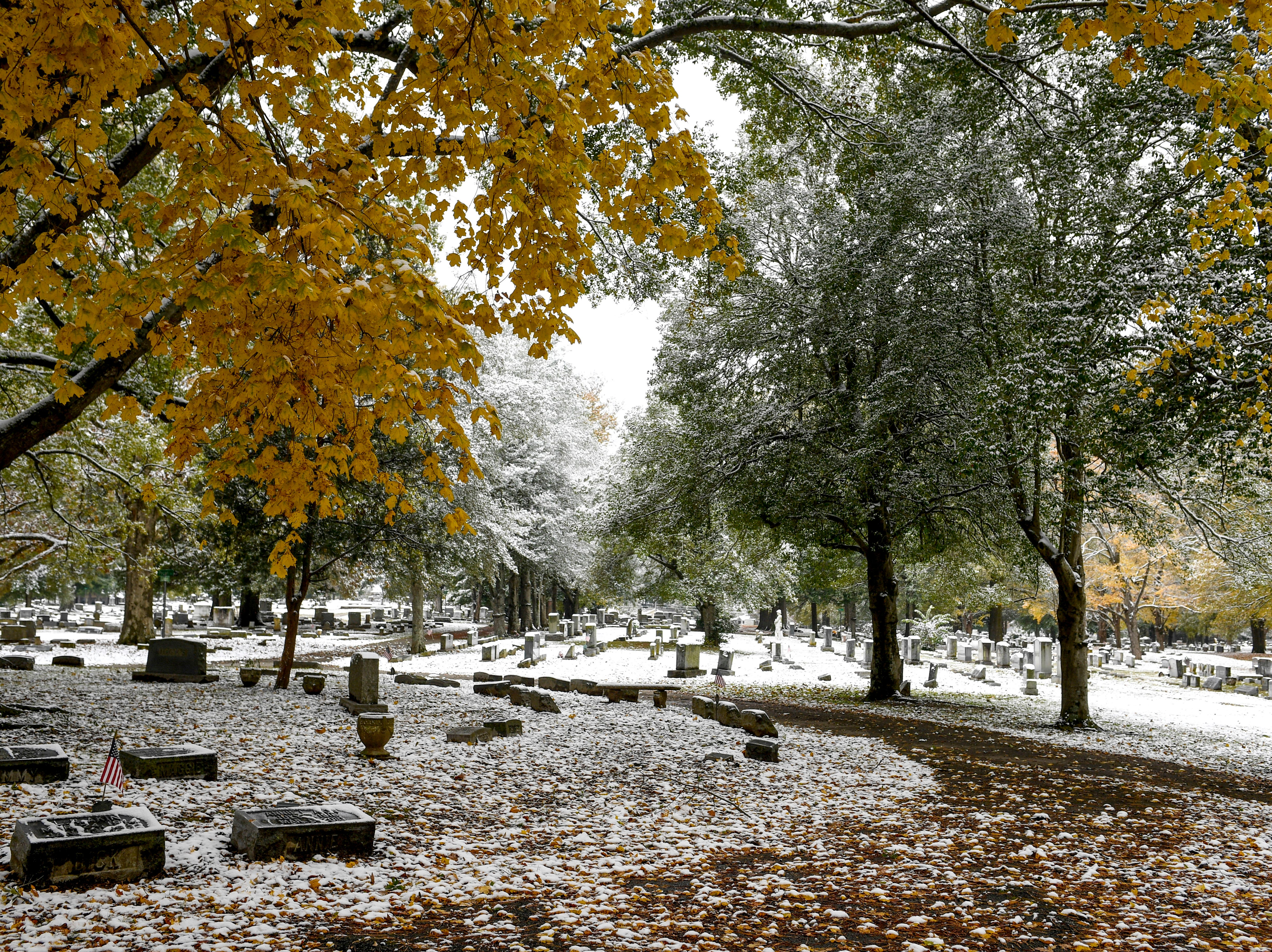 An early snowfall coated scenes of late changing fall leaves, streets, and downtown with powdery snow in Jackson, Tenn., on Thursday, Nov. 15, 2018.