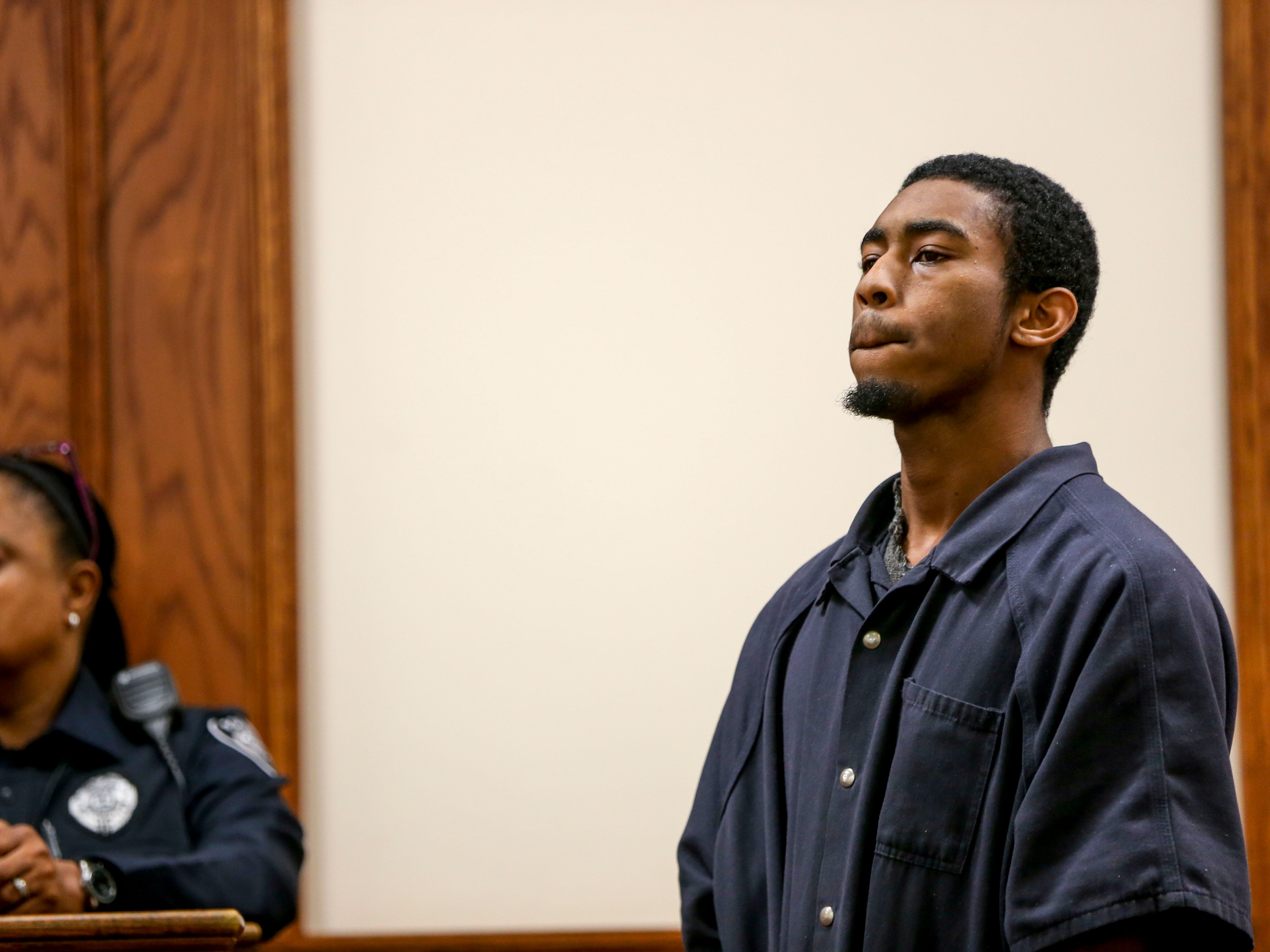 Keon Stewart purses his lips and listens to attorneys request the pushing back of his hearing at a court appearance for Stewart at Jackson City Court in Jackson, Tenn., on Thursday, Nov. 15, 2018.