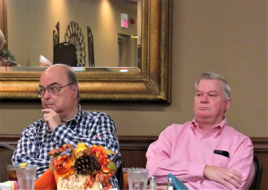 Experts in antique appraisal, Joe Rosson and Rick Crane attended the Welcome Wagon monthly luncheon, speaking about history, new trends and valuing members' treasures.