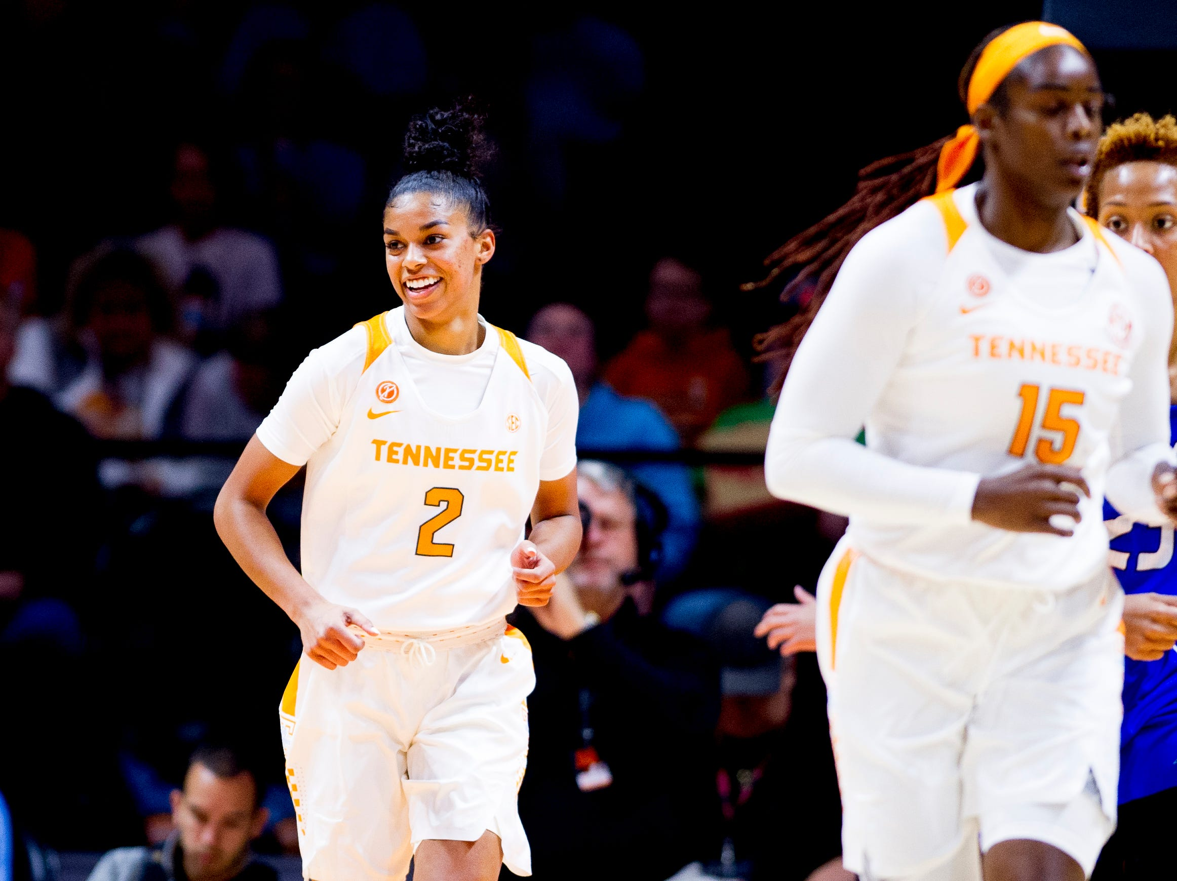 Tennessee guard Evina Westbrook (2) celebrates a point during a game between Tennessee and UNC Asheville at Thompson-Boling Arena in Knoxville, Tennessee on Wednesday, November 14, 2018.