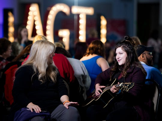 """Angelica Mann, right, and her mom and """"biggest fan"""" Starlie Chavez, left, wait in the holding room during America's Got Talent auditions on Thursday in Knoxville."""