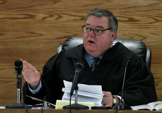 Sevier County Criminal Court Judge James Gass during the trial of Brian Mullinax and Tina Cody Thursday, November 15, 2018. They are charged with causing a Sevier County deputy's panic attack after he – Justin Johnson – opened fire on them and they were on the ground.